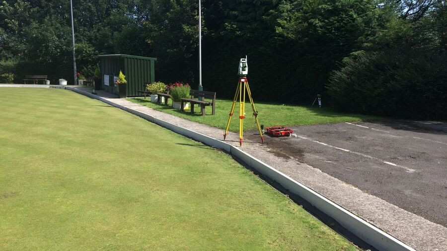Total Station in place next to bowling green