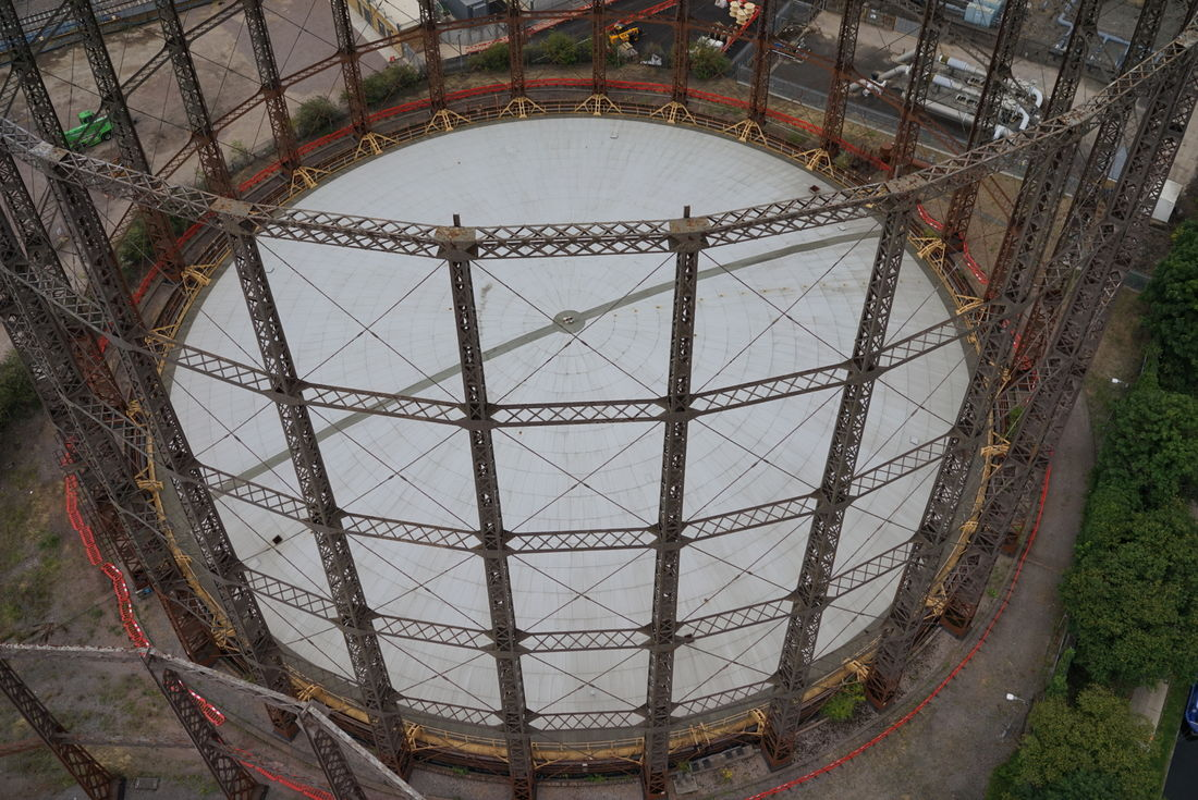 Canal Way, Kensal Rise - gasholder observed from UAV