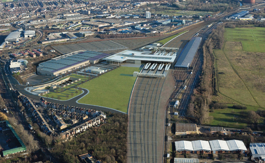 The new Crossrail Train Depot built by Taylor Woodrow at Old Oak Common